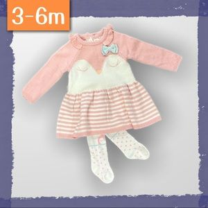 Knit baby dress with matching owl tights - EUC